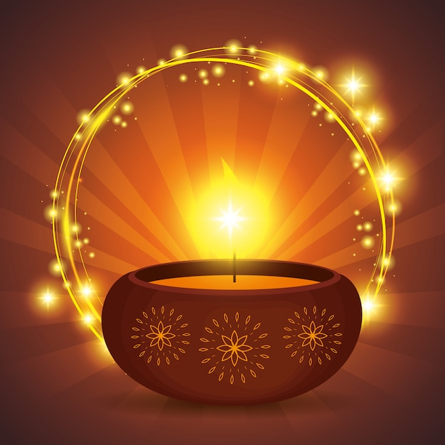 Diwali candle Free Vector
