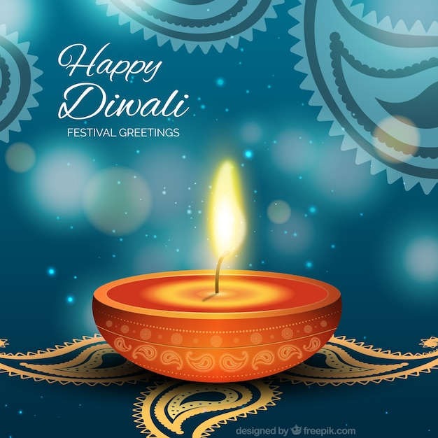Diwali card with 3d candle vector free download diwali card with 3d candle free vector m4hsunfo