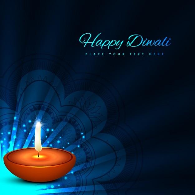 free vector  diwali card with dark blue background