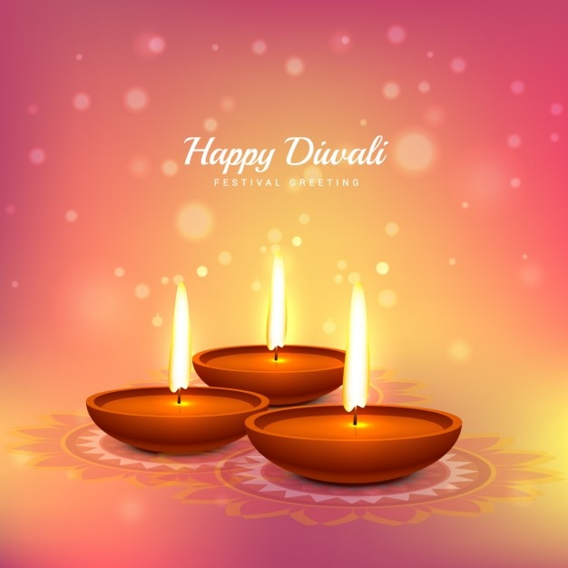Diwali Card With Pink Background Vector Free Download
