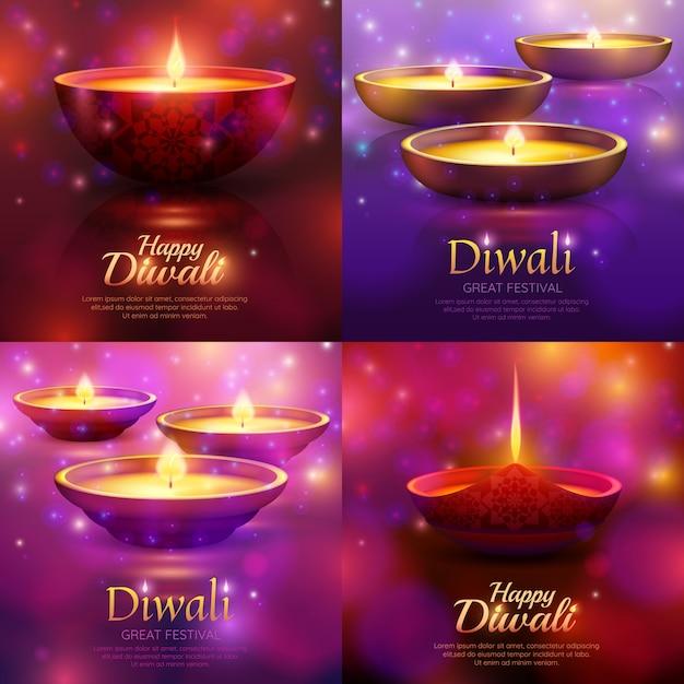 Diwali celebration template set Free Vector