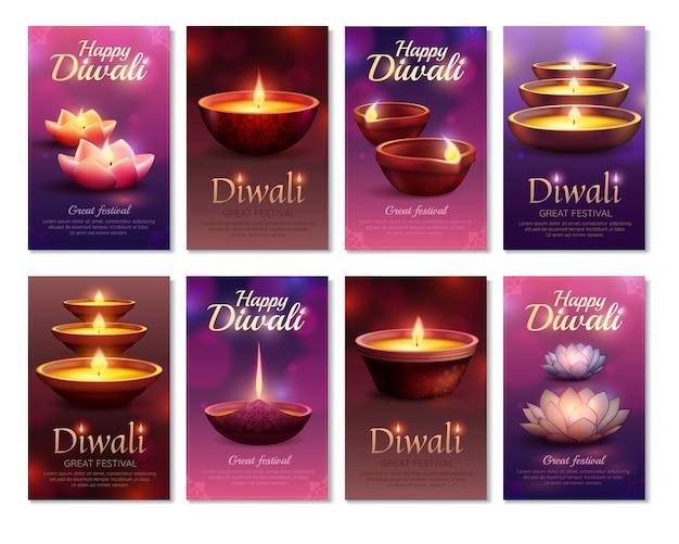 Diwali celebration vertical cards Free Vector