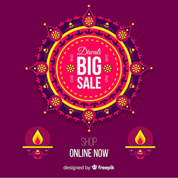 Diwali concept with flat design background Free Vector