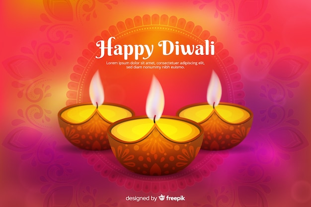 Diwali concept with realistic background Free Vector
