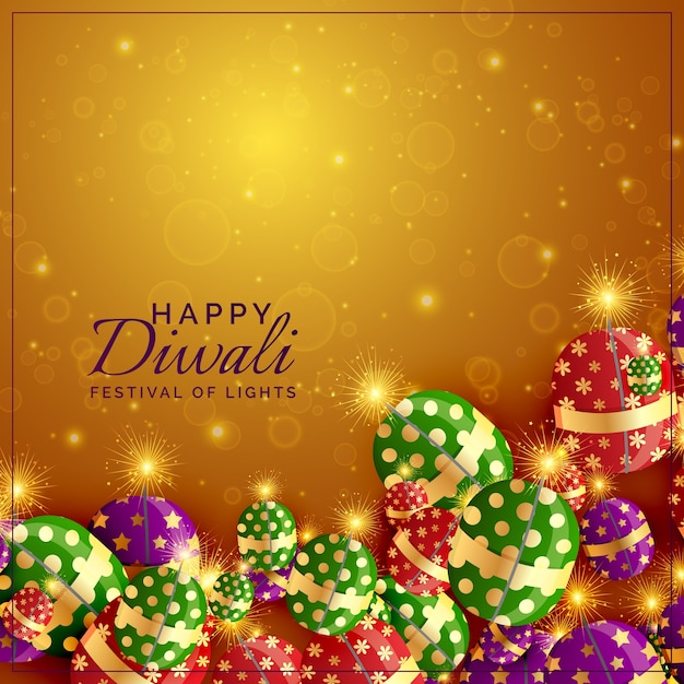 Diwali crackers background with shiny sparkles Premium Vector