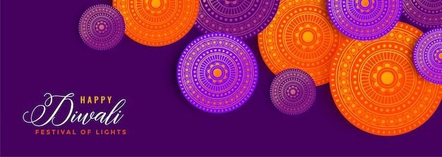 Diwali decoration banner with lovely colors Free Vector