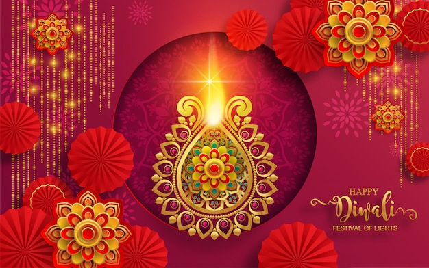 Diwali, deepavali or dipavali the festival of lights india with gold diya patterned and crystals on paper color background. Premium Vector