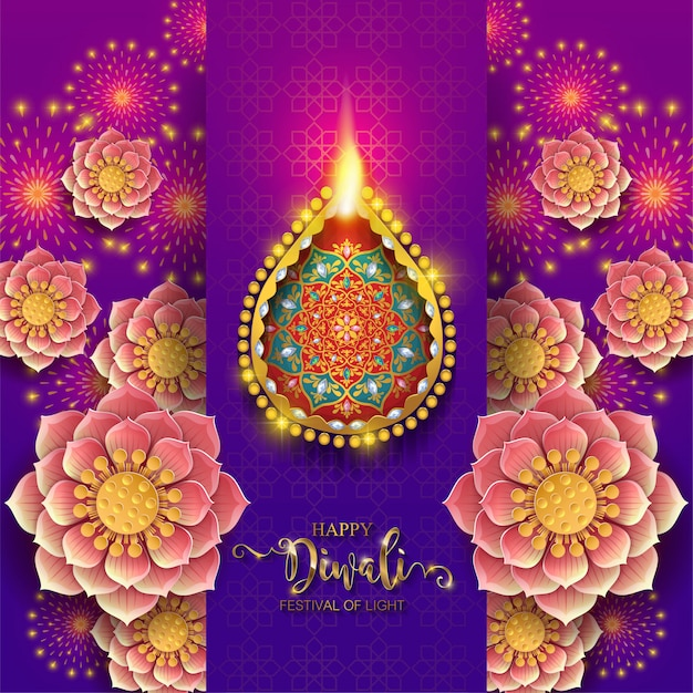 Diwali, deepavali or dipavali the festival of lights india with gold diya patterned and crystals on paper Premium Vector