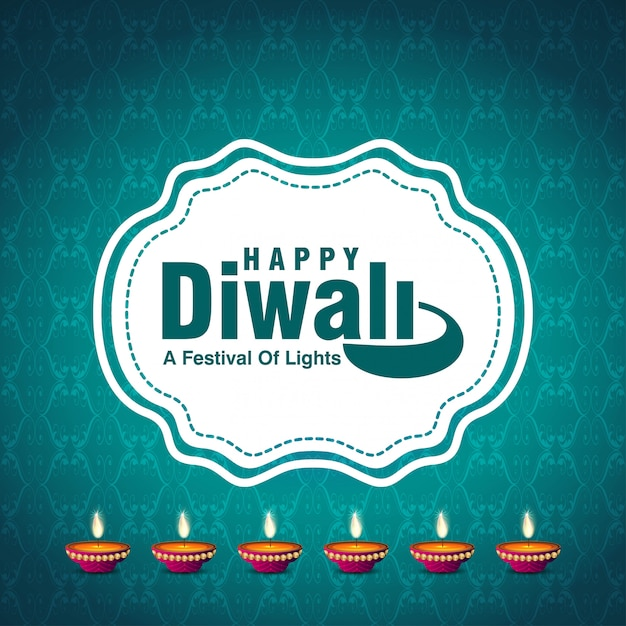 Diwali design blue background and typography vector Free Vector