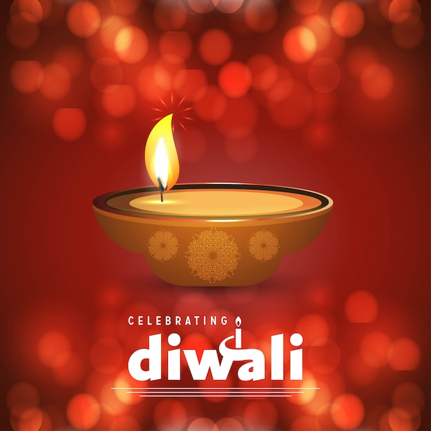 Diwali design brown background and typography vector Free Vector