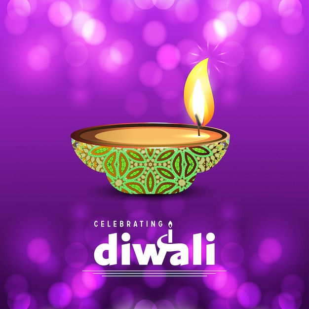 Diwali design purple background and typography vector Free Vector