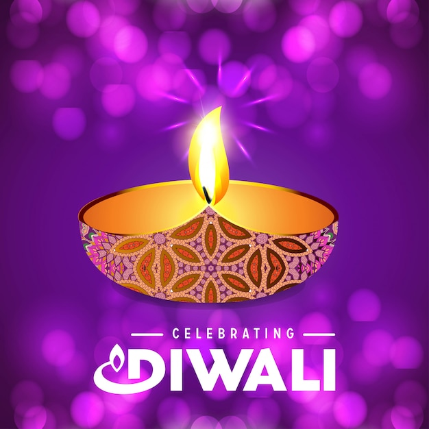 Diwali design purple background and typography vector Premium Vector