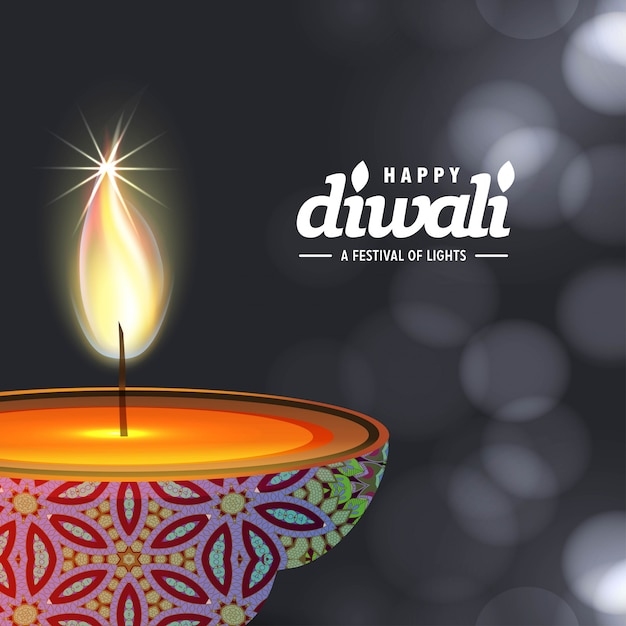 Diwali design with dark background and typography vector Free Vector
