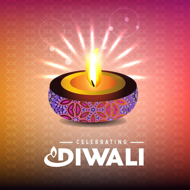 Diwali design with light background and typography vector Free Vector