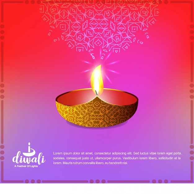 Diwali design with pink background and typography vector Free Vector
