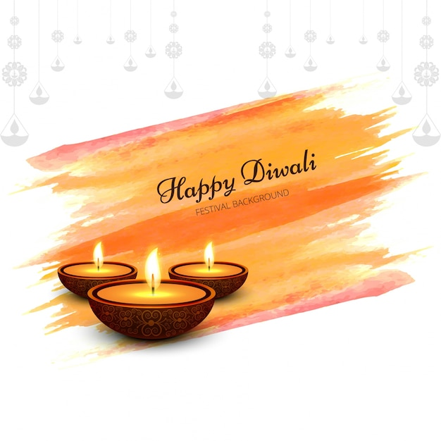 Diwali design with watercolor