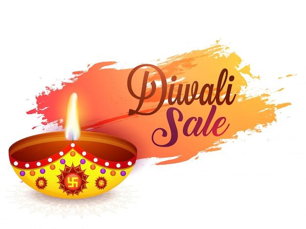 Diwali продажа фон с освещенной масляной лампой (diya). Premium векторы