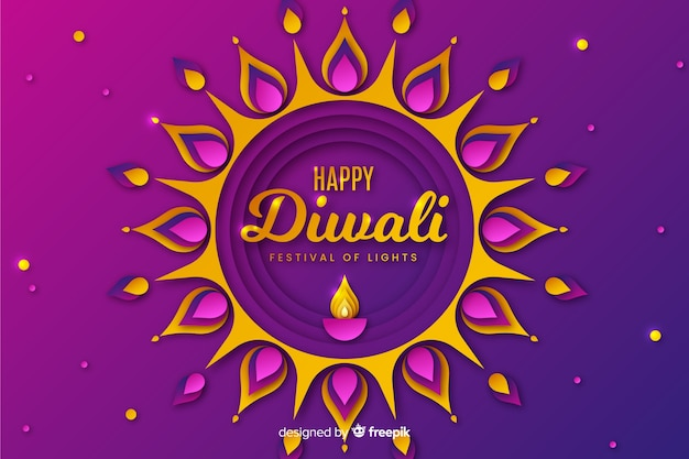 Diwali festival background in paper style Free Vector
