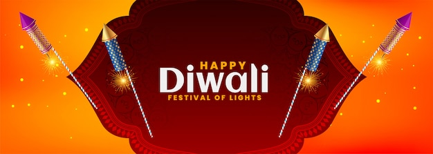Diwali festival banner in beautiful style with burning crackers Free Vector