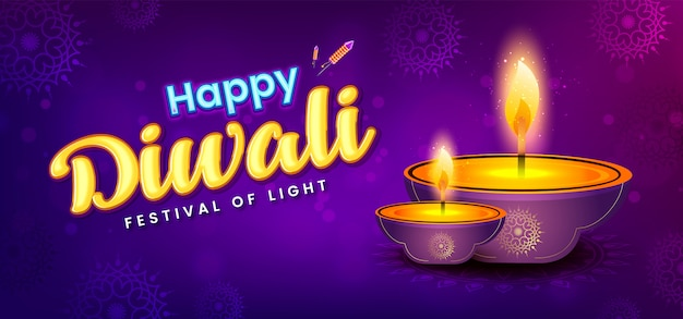 Diwali festival banner template Premium Vector