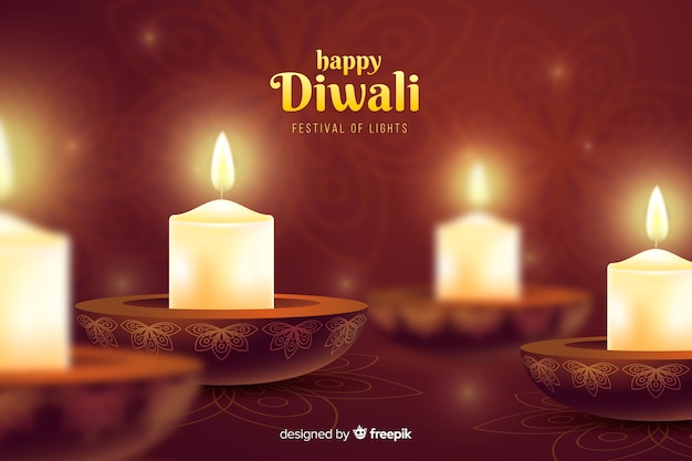 Diwali festival candles celebration background Free Vector