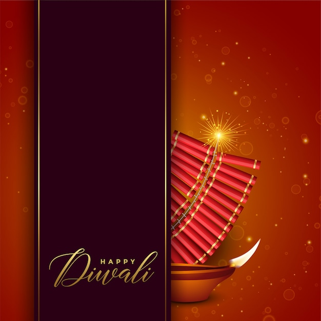 Diwali festival design with cracker and diya Free Vector