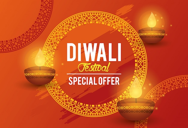 Diwali festival indian offer banner design Premium Vector