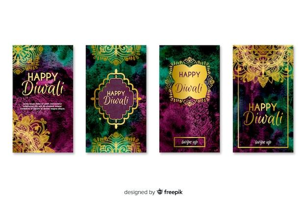 Diwali festival instagram stories Free Vector