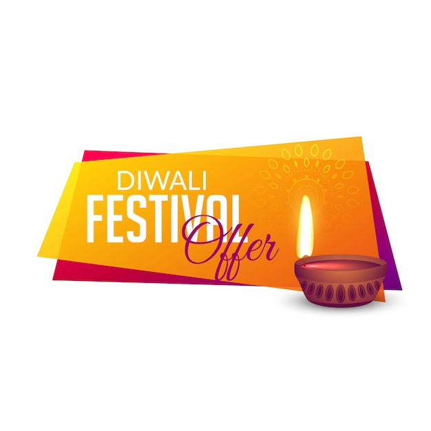 diwali festival offers voucher banner design background Free Vector