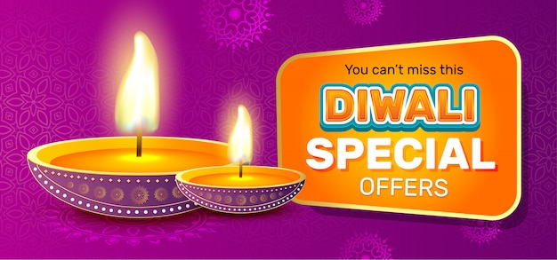 Diwali festival sale banner template Premium Vector