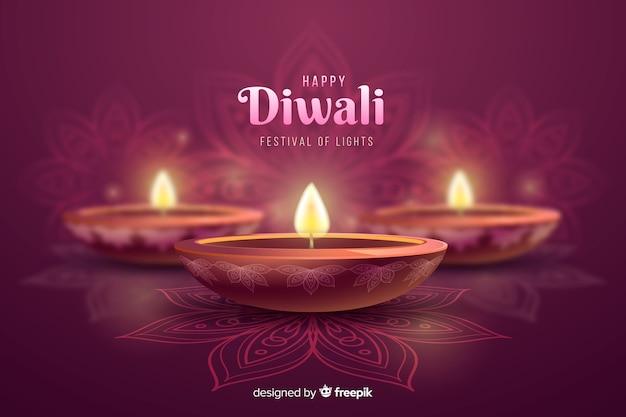 Diwali festive candles celebration background Free Vector