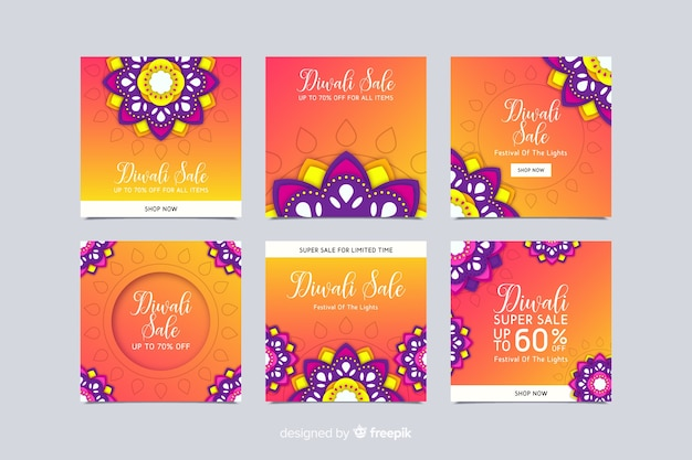 Diwali floral instagram post collection Free Vector