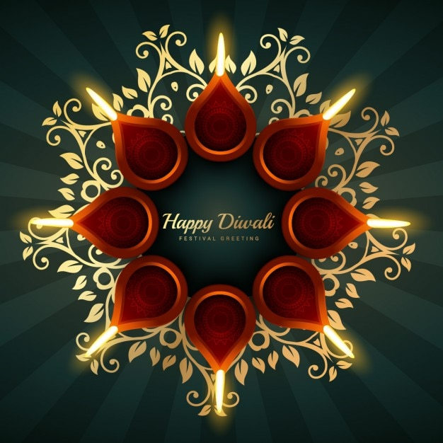 Diwali Greeting Vector Background Design With Floral