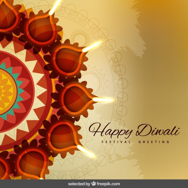 Diwali greeting with ornaments vector free download for Agal vilakku decoration