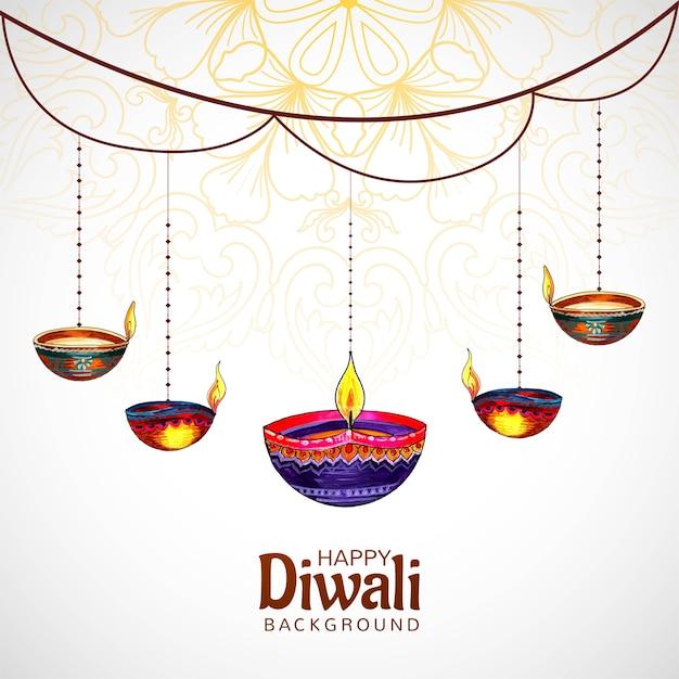 Diyaカードの背景をぶら下げてディワリヒンドゥー教の祭り 無料ベクター