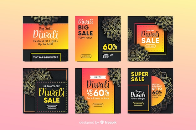 Diwali instagram post collection with black background Free Vector