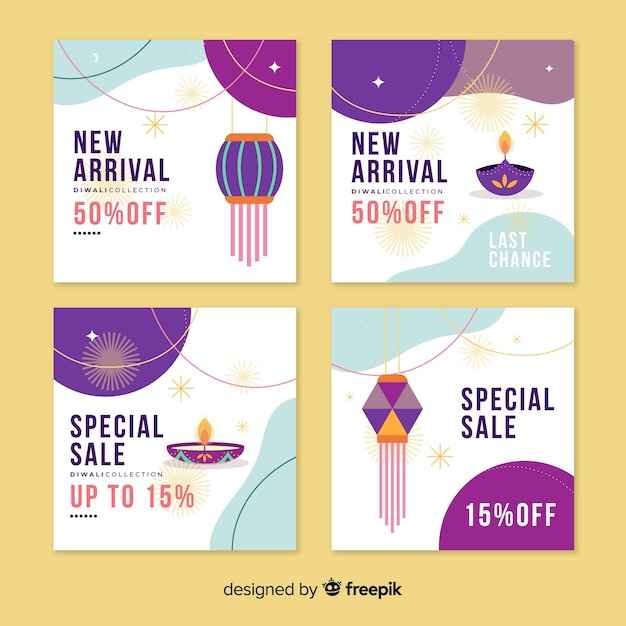 Diwali instagram post collection Free Vector