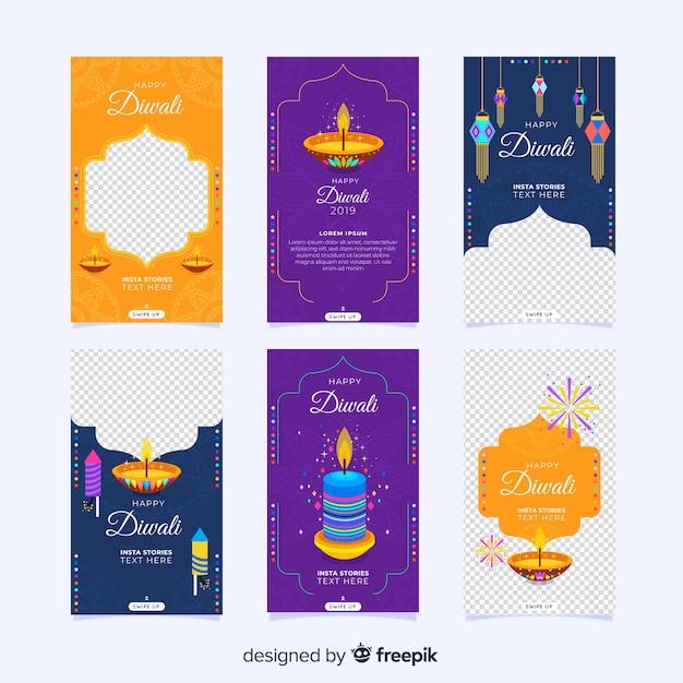 Diwali instagram stories collection Free Vector