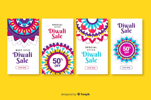 Diwali instagram stories collection Free Vector