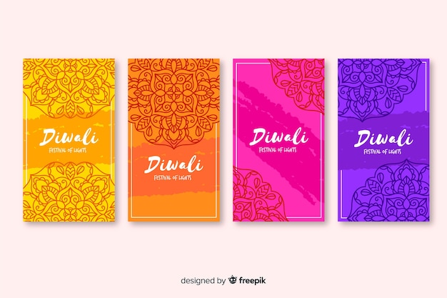Diwali instagram stories and traditional background Free Vector