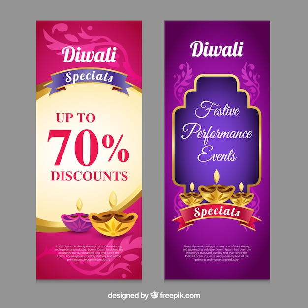 Diwali offers banners Free Vector