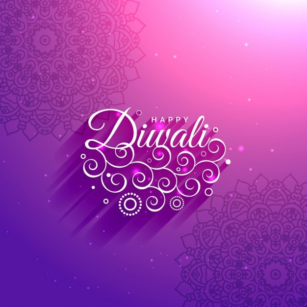 Diwali ornamental purple background Free Vector