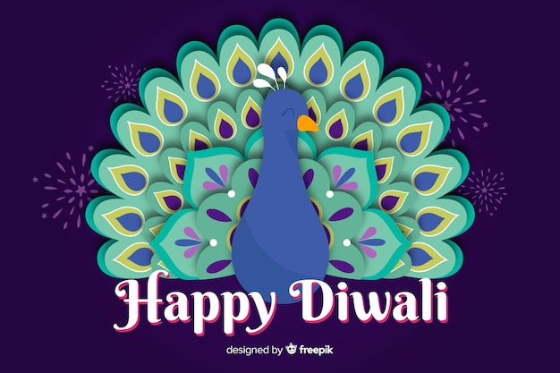 Diwali in paper style background Free Vector