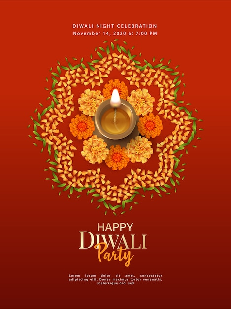 Diwali poster template with diya lamp Premium Vector