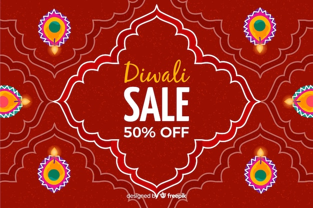 Diwali sale concept in flat design Free Vector