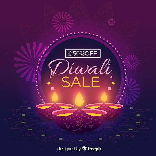 Diwali sale concept with flat design background Free Vector
