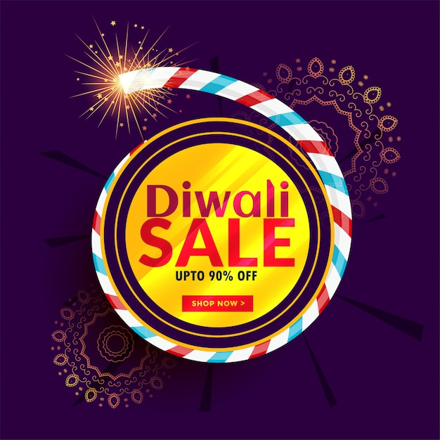 Diwali sale poster design with cracker Free Vector