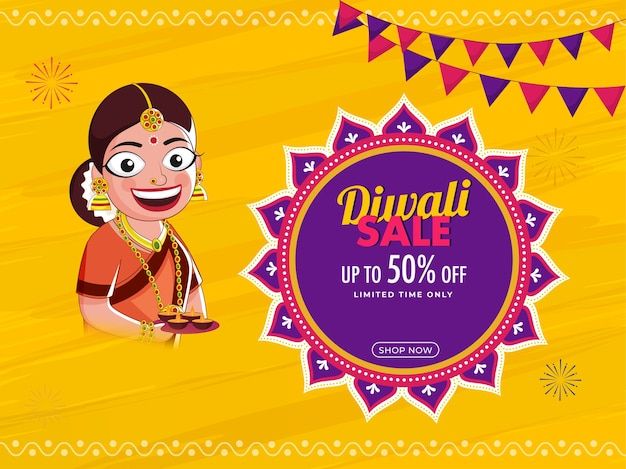 Diwali sale poster design with discount offer Premium Vector