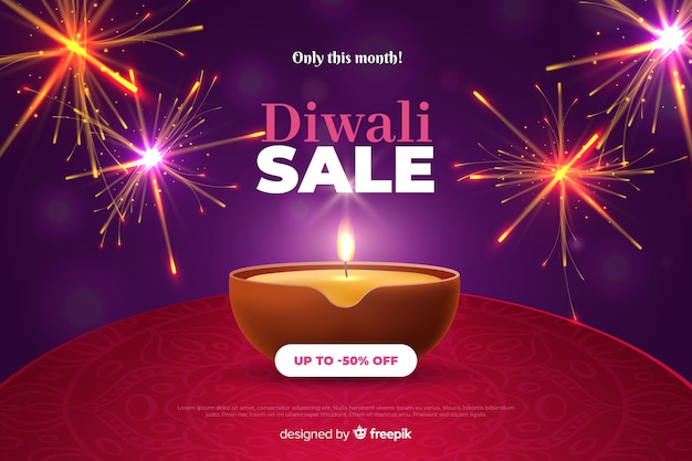 Diwali sale in realistic design Free Vector