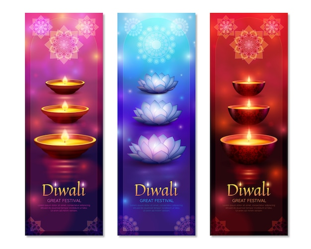 Diwali vertical banners Free Vector